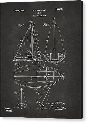 1948 Sailboat Patent Artwork - Gray Canvas Print by Nikki Marie Smith
