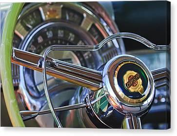1950 Chrysler New Yorker Coupe Steering Wheel Emblem Canvas Print by Jill Reger