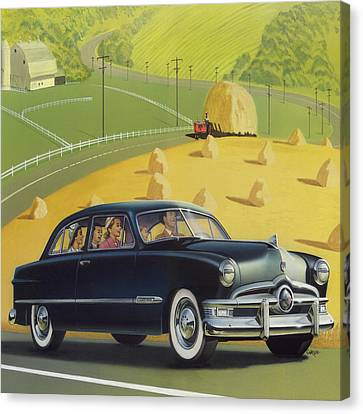 1950 Custom Ford - Square Format Image Picture Canvas Print by Walt Curlee