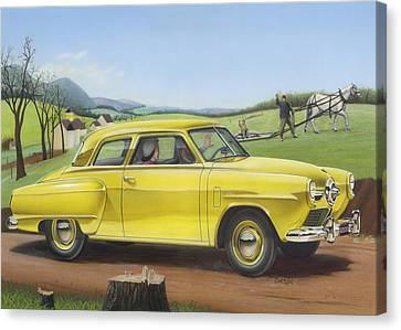 1950 Studebaker Champion Blank Greeting Card Canvas Print by Walt Curlee
