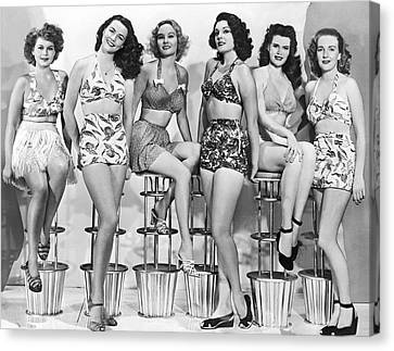1950s Bathing Suits Canvas Print by Underwood Archives