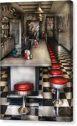 1950's - The Ice Cream Parlor  Canvas Print by Mike Savad