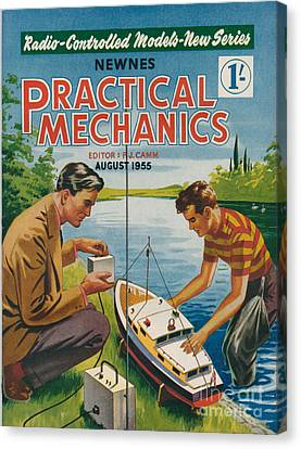 1950s Uk Practical Mechanics Magazine Canvas Print by The Advertising Archives