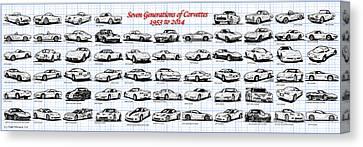 1953-2014-corvettes Canvas Print by K Scott Teeters