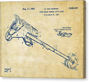 1953 Horse Toy Patent Artwork Vintage Canvas Print by Nikki Marie Smith