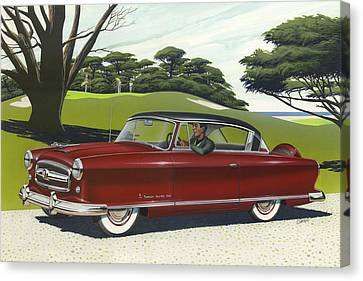 1953 Nash Rambler Car Americana Rustic Rural Country Auto Antique Painting Red Golf Canvas Print by Walt Curlee