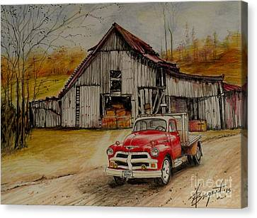 1954 Chevy Truck And Barn Canvas Print by Jackie Bryant