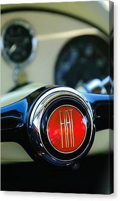 1954 Fiat 1100 Berlinetta Stanguellini Bertone Steering Wheel Emblem Canvas Print by Jill Reger