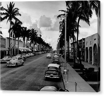 1954 Miami Beach Lincoln Road Canvas Print by Retro Images Archive