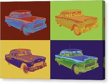 1955 Chevrolet Bel Air Pop Art Canvas Print by Keith Webber Jr