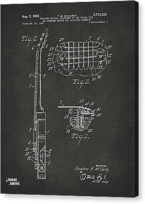 1955 Mccarty Gibson Les Paul Guitar Patent Artwork 2 - Gray Canvas Print by Nikki Marie Smith