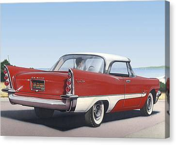1957 De Soto Blank Greeting Card Canvas Print by Walt Curlee