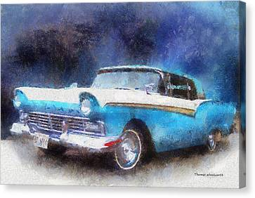 1957 Ford Classic Car Photo Art 02 Canvas Print by Thomas Woolworth