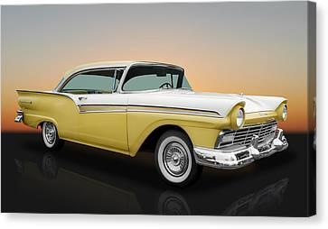 1957 Ford Fairlane 500 2 Door Hardtop Canvas Print by Frank J Benz