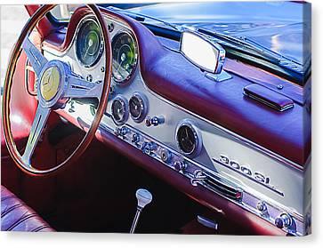 1957 Mercedes-benz 300 Sl Gullwing Steering Wheel Emblem Canvas Print by Jill Reger