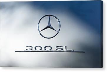 1957 Mercedes-benz Gullwing 300 Sl Emblem Canvas Print by Jill Reger