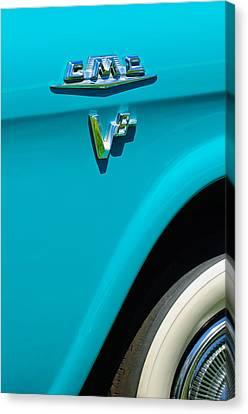 1958 Gmc Series 101-s Pickup Truck Side Emblem Canvas Print by Jill Reger