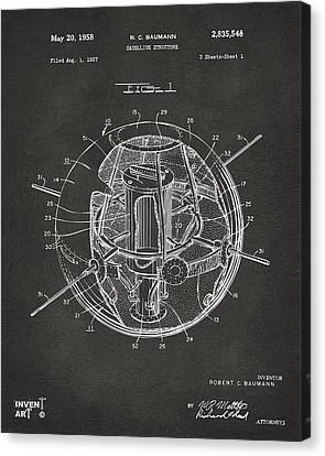 1958 Space Satellite Structure Patent Gray Canvas Print by Nikki Marie Smith