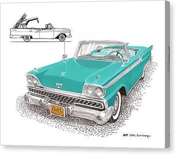1959 Ford 500 Fairlane Retractable Hard Top Canvas Print by Jack Pumphrey
