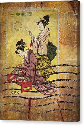 1959 Japanese Postcard Mail Canvas Print by Carol Leigh