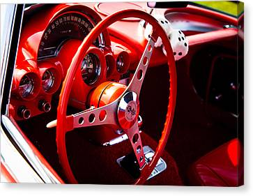 1959 Red Chevy Corvette Canvas Print by David Patterson