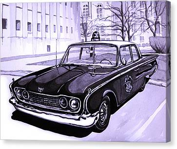 1960 Ford Fairlane Police Car Canvas Print by Neil Garrison