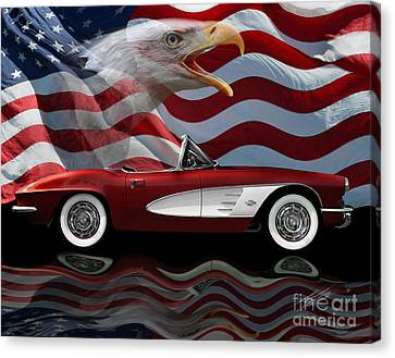 1961 Corvette Tribute Canvas Print by Peter Piatt