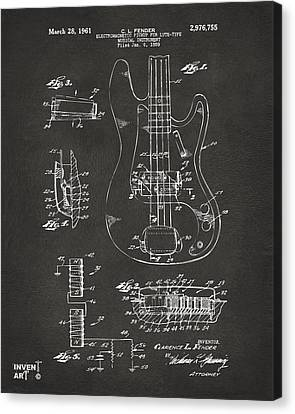 1961 Fender Guitar Patent Artwork - Gray Canvas Print by Nikki Marie Smith