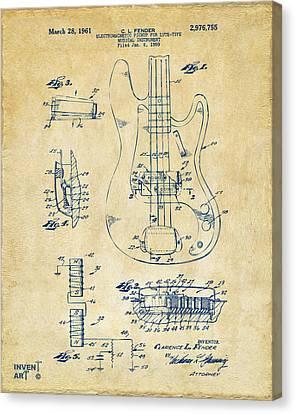 1961 Fender Guitar Patent Artwork - Vintage Canvas Print by Nikki Marie Smith