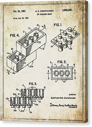 1961 Lego Patent Canvas Print by Digital Reproductions
