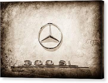 1961 Mercedes Benz 300sl Roadster Emblem -0585s Canvas Print by Jill Reger