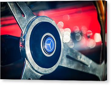 1961 Mercedes Benz 300sl Roadster Steering Wheel Emblem Canvas Print by Jill Reger