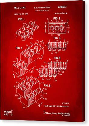 1961 Toy Building Brick Patent Art Red Canvas Print by Nikki Marie Smith