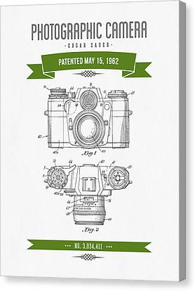 1962 Photographic Camera Patent Drawing - Retro Green Canvas Print by Aged Pixel
