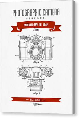 1962 Photographic Camera Patent Drawing - Retro Red Canvas Print by Aged Pixel