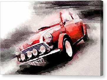 1963 Austin Mini Cooper Watercolor Canvas Print by Naxart Studio