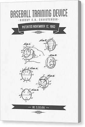 1963 Baseball Training Device Patent Drawing Canvas Print by Aged Pixel