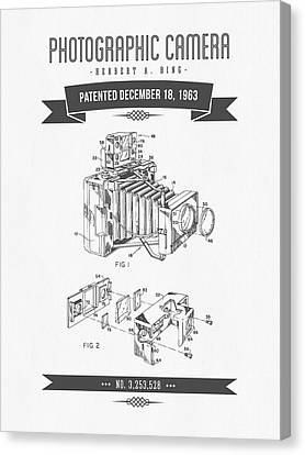 1963 Photographic Camera Patent Drawing - Retro Gray Canvas Print by Aged Pixel