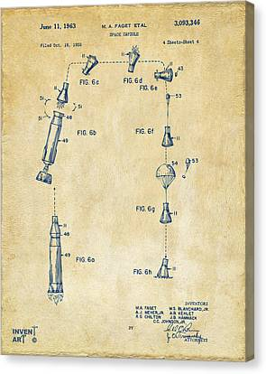 1963 Space Capsule Patent Vintage Canvas Print by Nikki Marie Smith