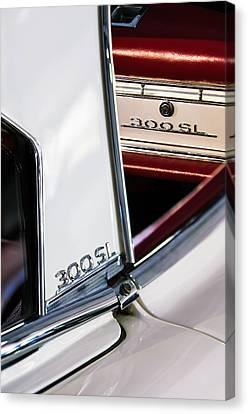 1963 Mercedes-benz 300 Sl Roadster Emblems Canvas Print by Jill Reger
