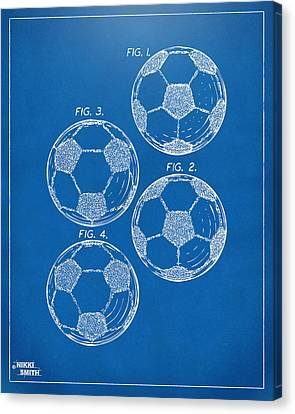 1964 Soccerball Patent Artwork - Blueprint Canvas Print by Nikki Marie Smith