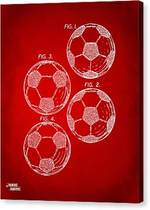 1964 Soccerball Patent Artwork - Red Canvas Print by Nikki Marie Smith
