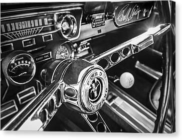 1965 Shelby Prototype Ford Mustang Steering Wheel Emblem -0314bw Canvas Print by Jill Reger