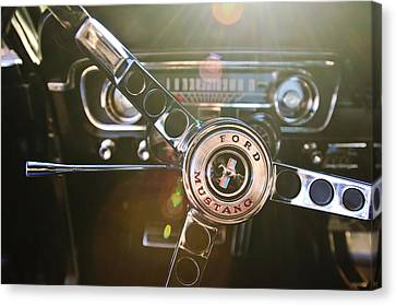 1965 Shelby Prototype Ford Mustang Steering Wheel Emblem Canvas Print by Jill Reger