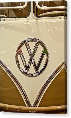 1965 Volkswagen Vw Samba Bus Emblem Canvas Print by Jill Reger