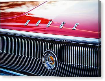 1966 Dodge Charger Grille Emblem Canvas Print by Jill Reger