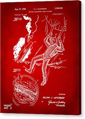 1968 Bulletproof Patent Artwork Figure 16 Red Canvas Print by Nikki Marie Smith