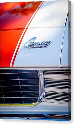 1969 Chevrolet Camaro Rs-ss Indy Pace Car Replica Hood Emblem Canvas Print by Jill Reger