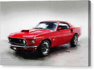 1969 Ford Mustang Watercolor Canvas Print by Naxart Studio