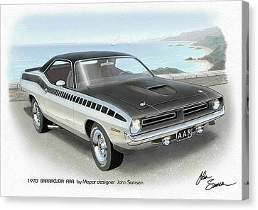 1970 Barracuda Aar Cuda Plymouth Muscle Car Sketch Rendering Canvas Print by John Samsen